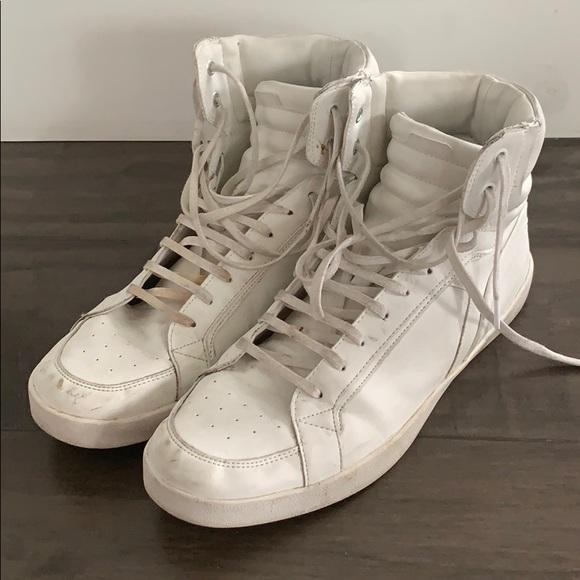 Zara Man High Top Matte White Sneakers